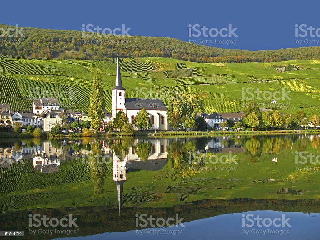 Wine village at the Moselle stock photo