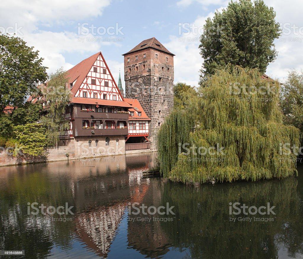Wine warehouse and water tower. Nuremberg. stock photo