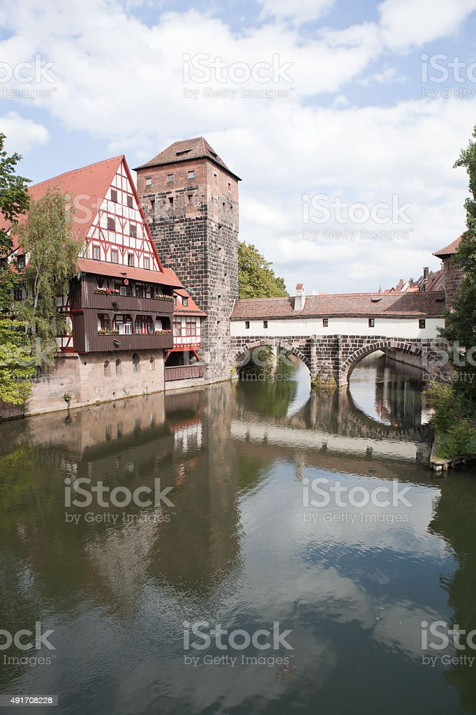 Wine Warehouse, Water Tower and the Bridge of the executioner. Nuremberg. stock photo