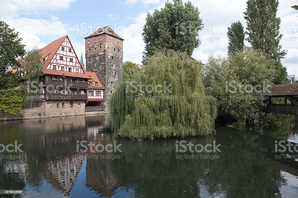 Wine warehouse, Water Tower, Bridge executioner. Nuremberg. stock photo