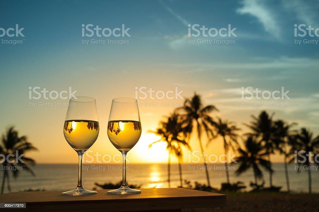 Wine with beautiful sunset stock photo