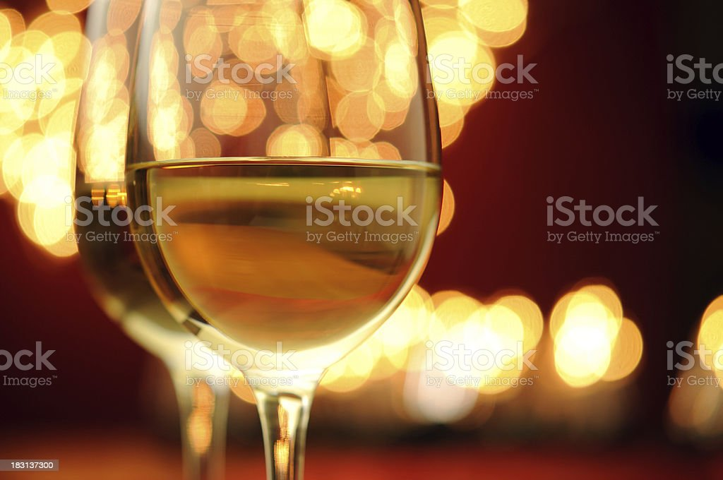 Wine With Christmas Lights royalty-free stock photo