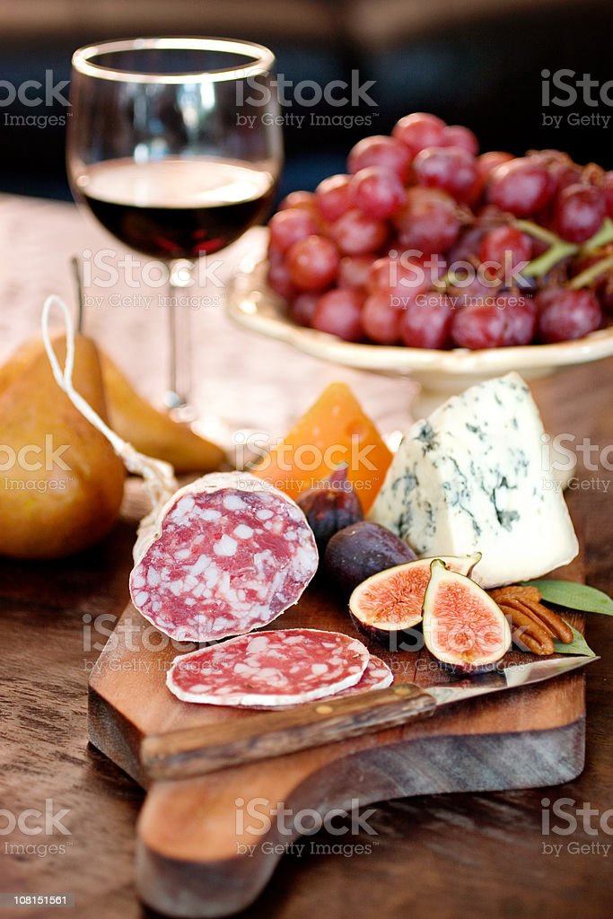 Wine with Meat and Cheese royalty-free stock photo