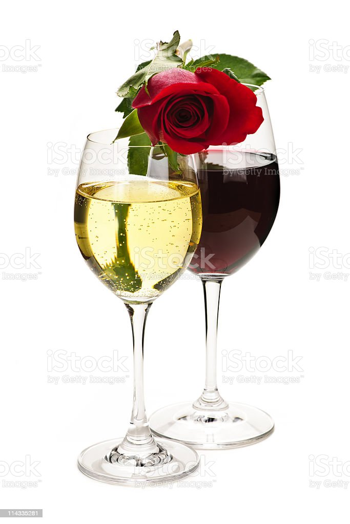 Wine with red rose royalty-free stock photo