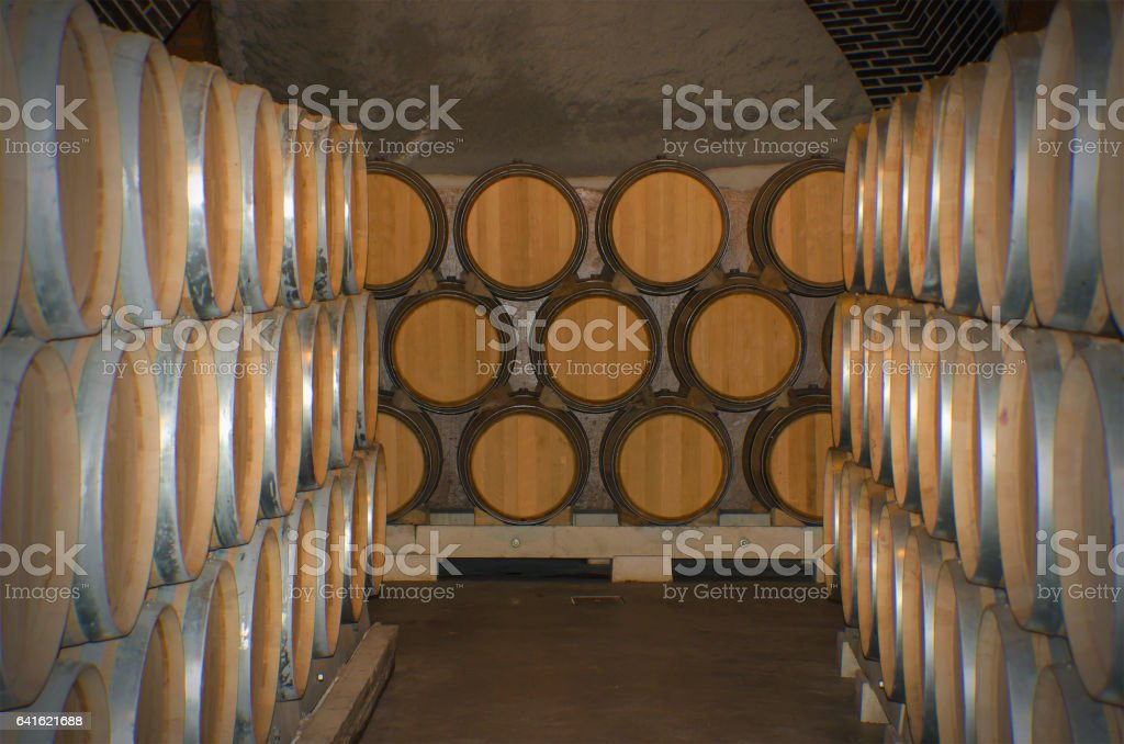 Wine wooden barrels stock photo