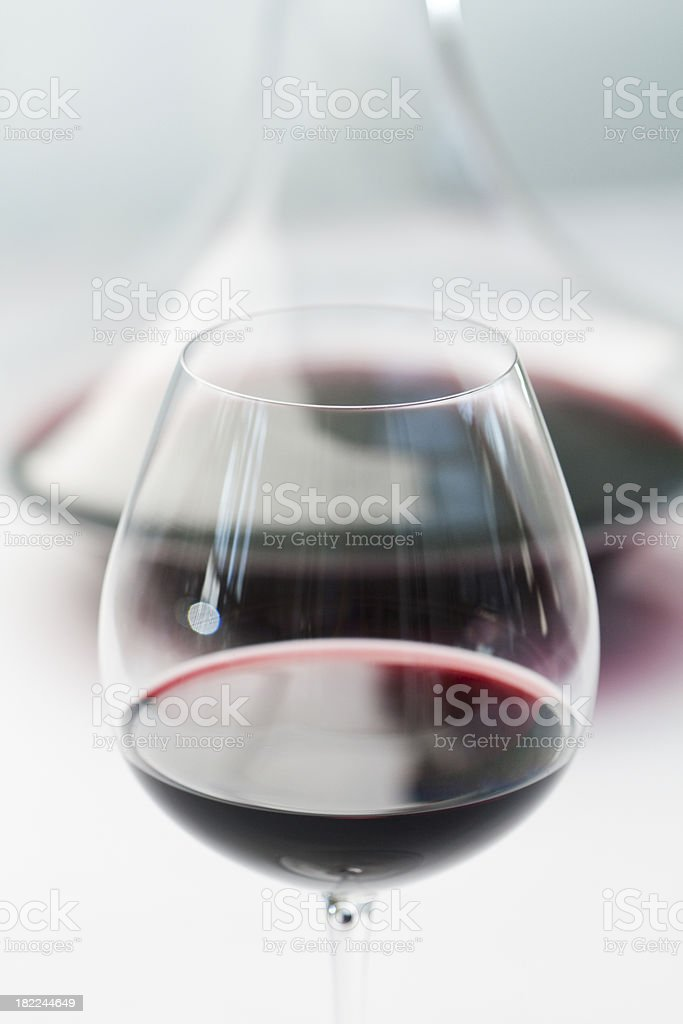 Wineglass and Decanter with Red Wine royalty-free stock photo