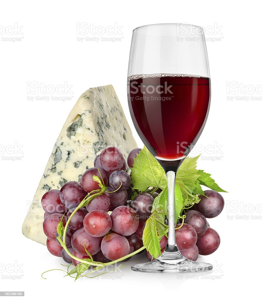 Wineglass, cheese and grapes royalty-free stock photo