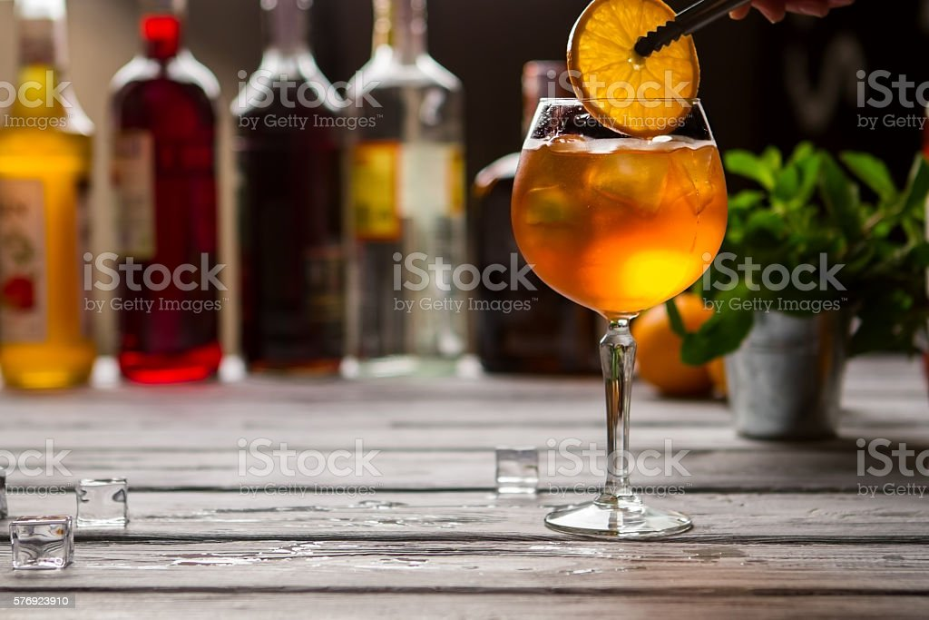 Wineglass with orange drink. stock photo