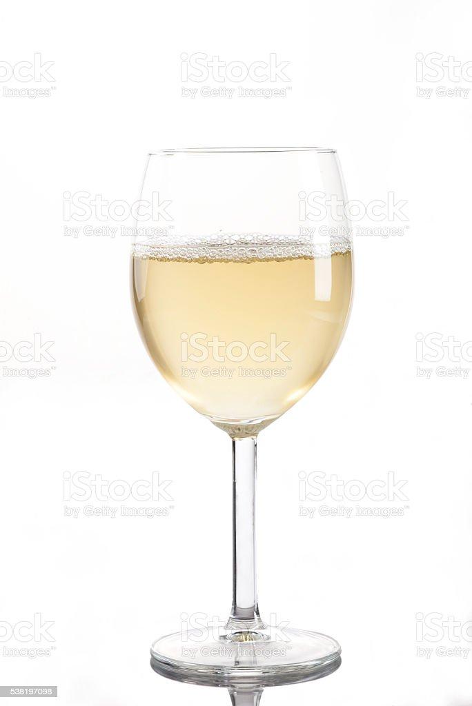 Wineglass with white wine stock photo