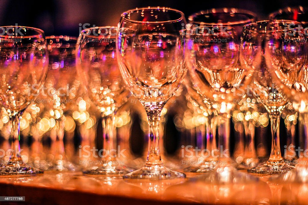 Wineglasses at a party stock photo