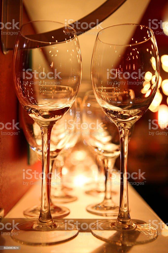 wineglasses in festive light stock photo