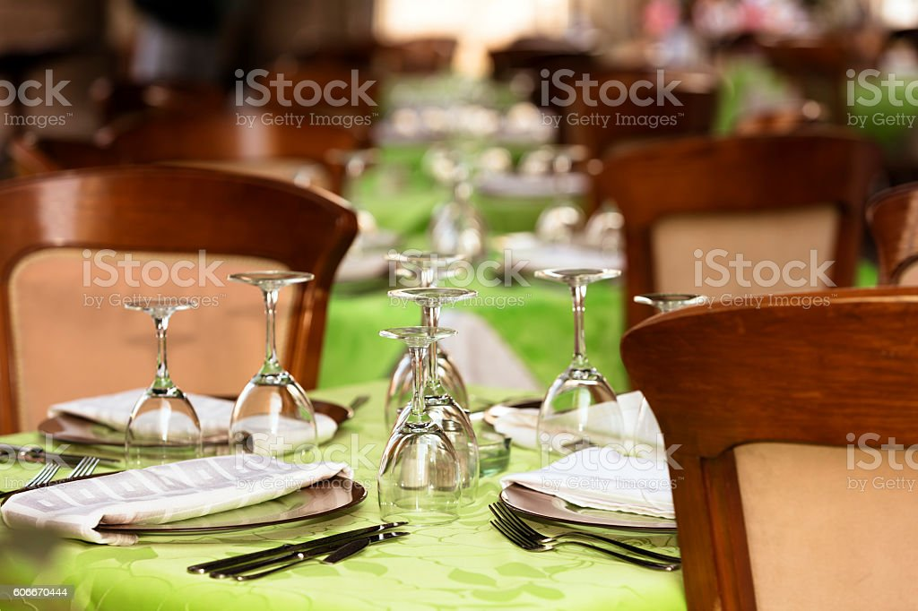 Wineglasses On Table At Restaurant stock photo
