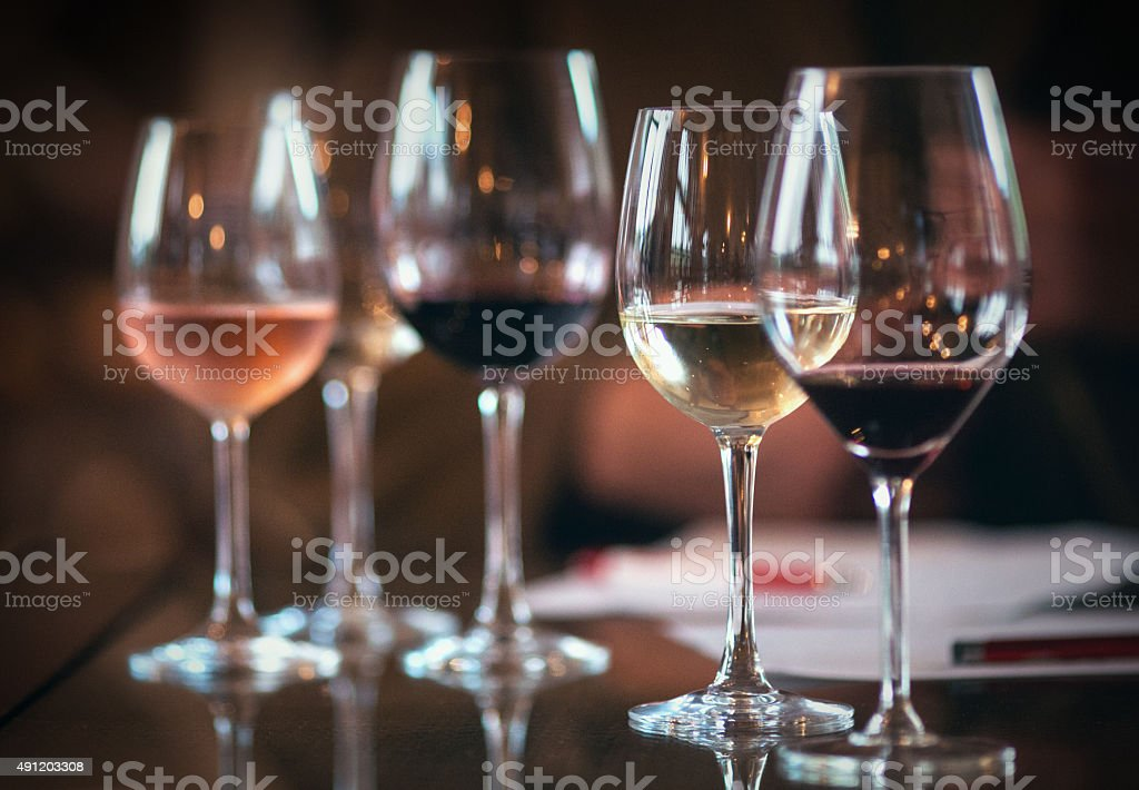 WIneglasses with different kinds of wines. stock photo