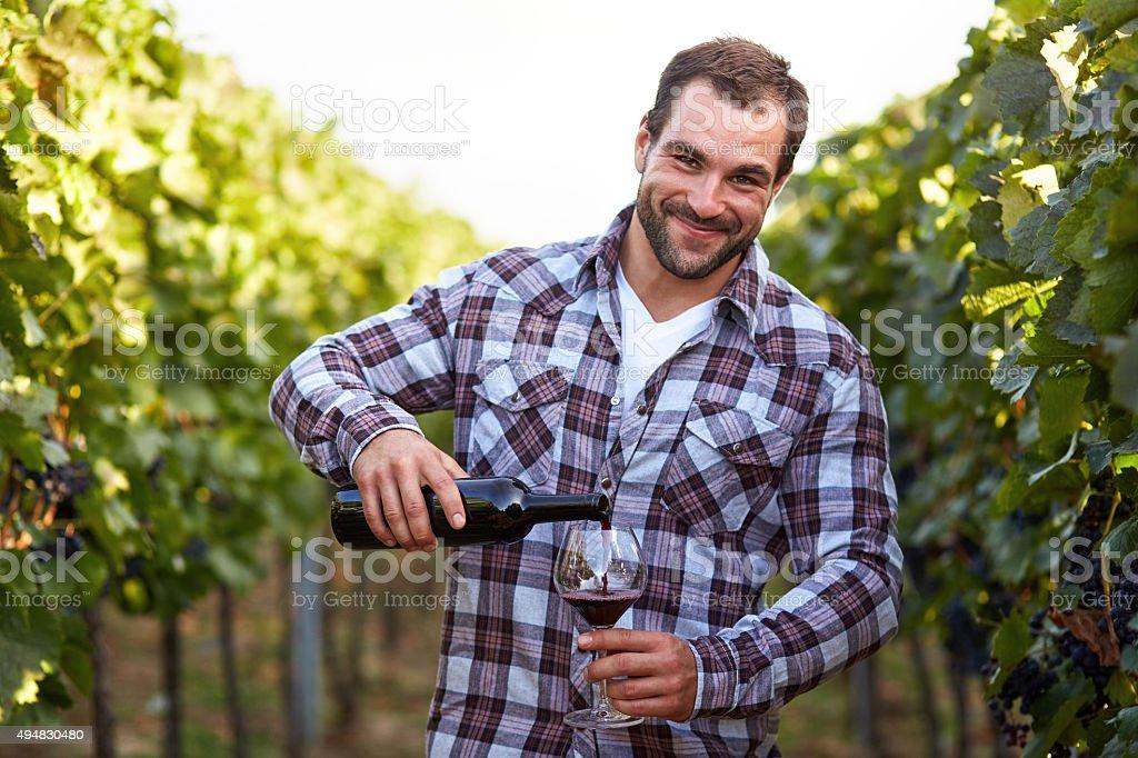 Winemaker in vineyard stock photo
