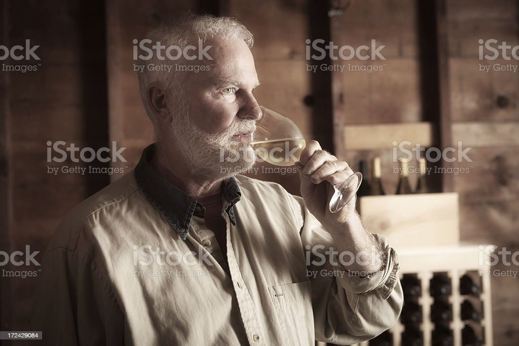 Winemaker Taster Tasting Glass of White Wine in Cellar royalty-free stock photo