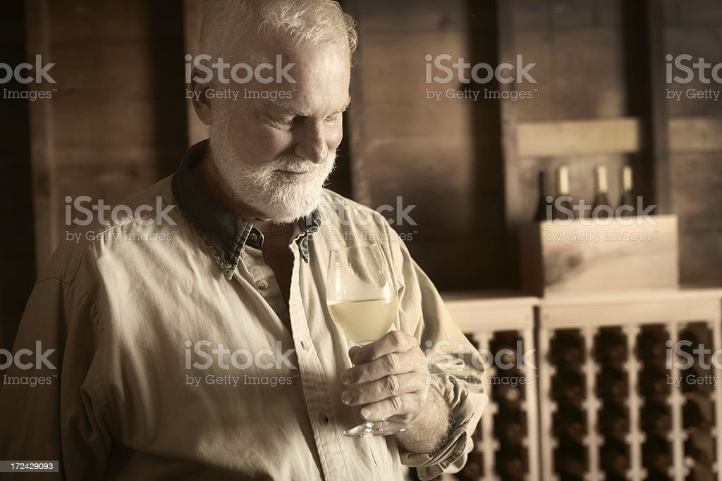 Winemaker Tasting Glass of White Wine in Cellar Horizontal royalty-free stock photo