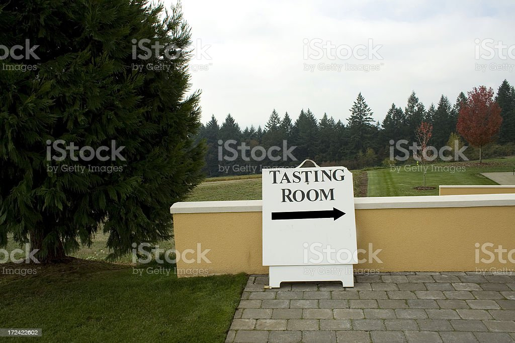 Winery Outdoor Tasting Room Sign stock photo