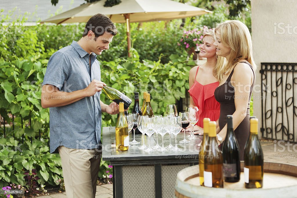 Winery Serving Tourists Winetasters Outdoor by the Vineyard Hz royalty-free stock photo