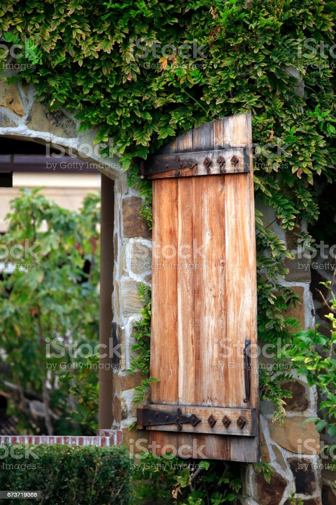 A winery with a open courtyard. Location: Napa Valley, California stock photo