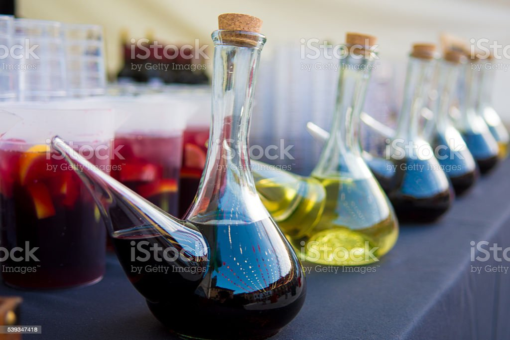 Wines in porrons stock photo