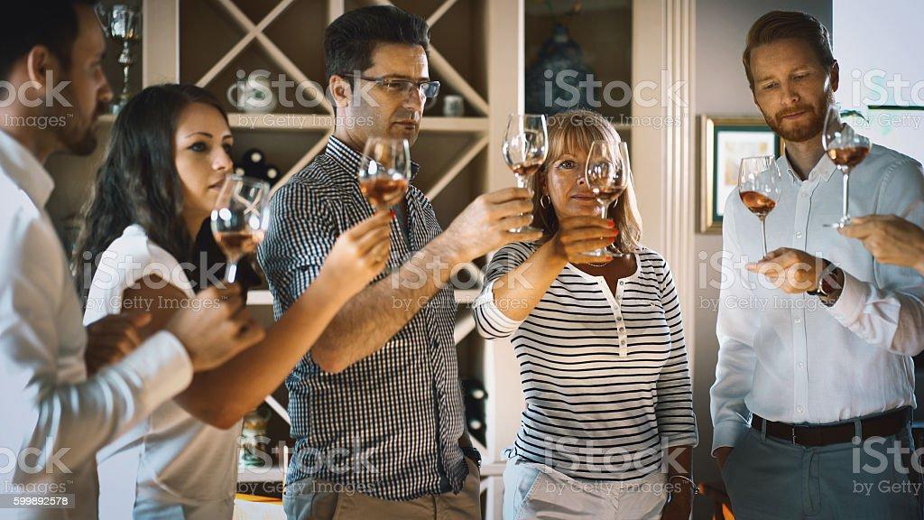 Winetasting event. stock photo