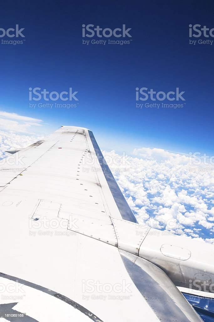 Wing in 30,000 feet height stock photo