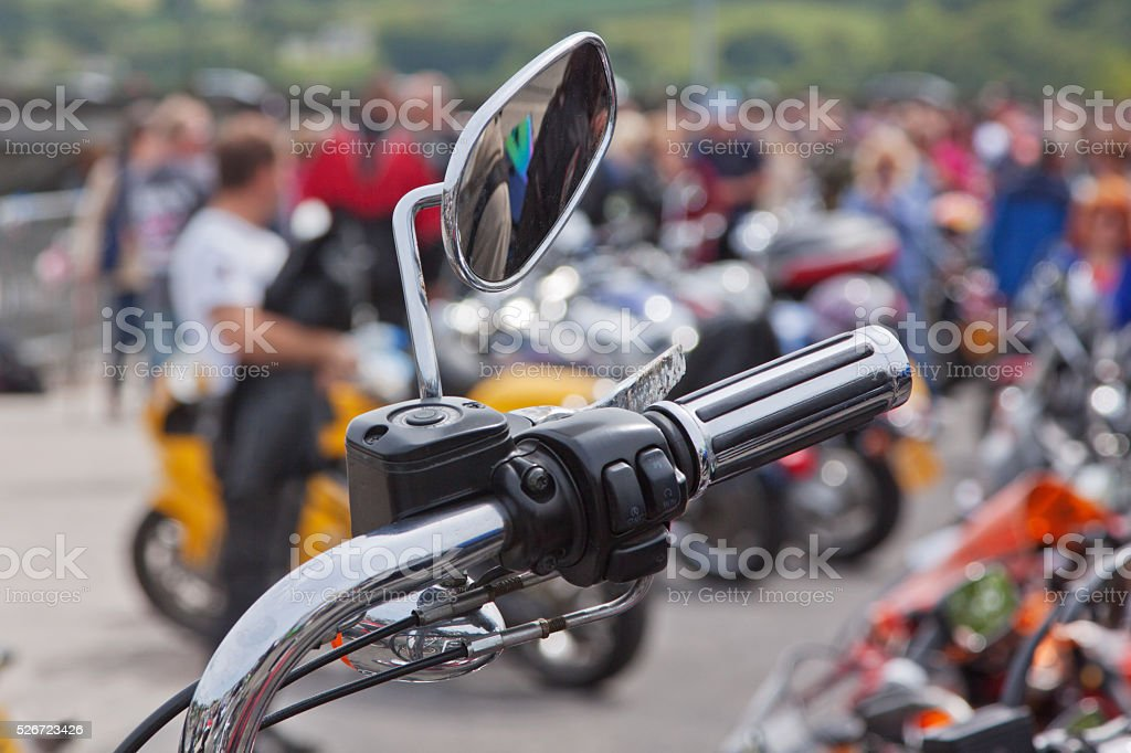 Wing mirror and hand controls of a motorcycle stock photo