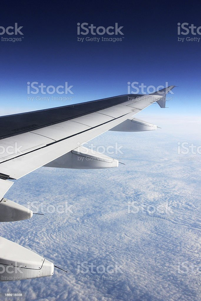 Wing of a plane royalty-free stock photo