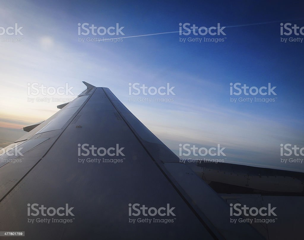 Wing of a plane stock photo