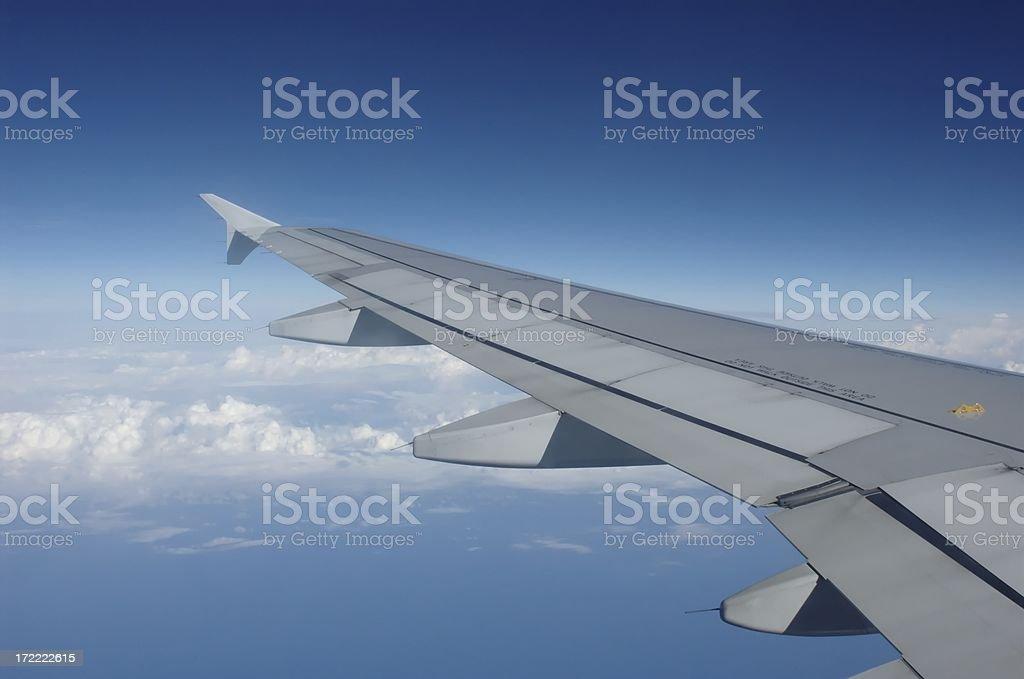 Wing of Airbus passenger plane royalty-free stock photo