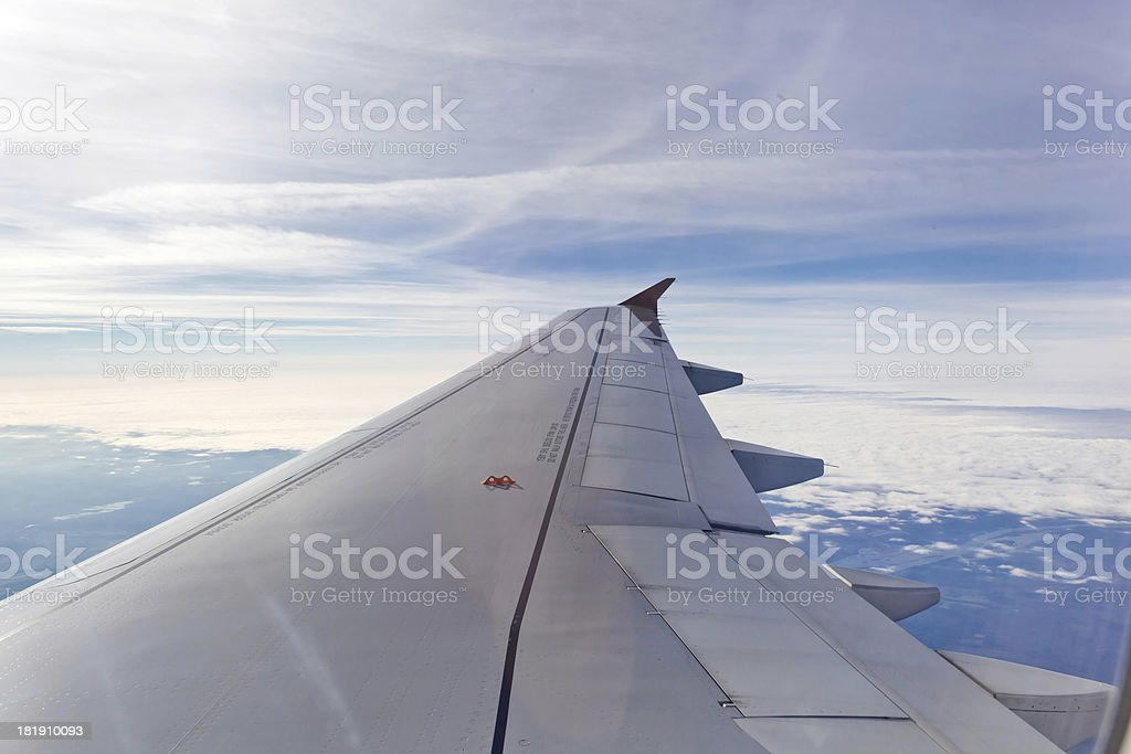 Wing of airplane royalty-free stock photo