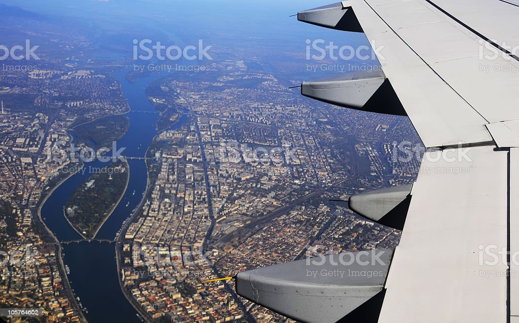 Wing of the plane royalty-free stock photo