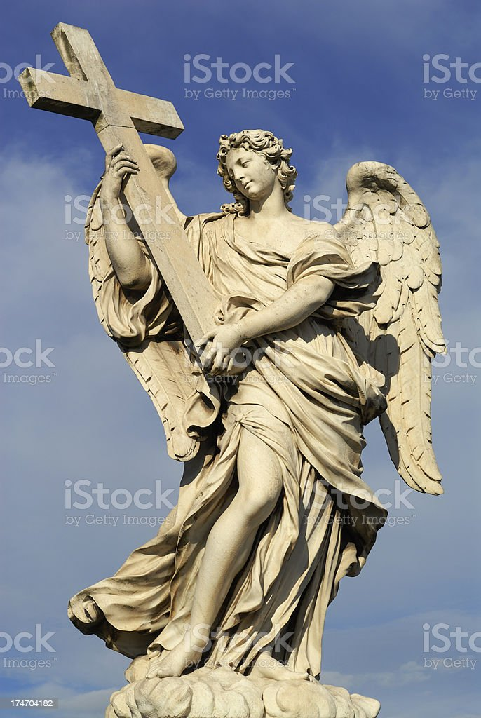 Winged Angel with Cross royalty-free stock photo