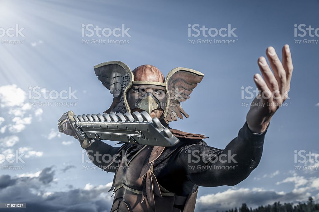 Winged Hero With Sword stock photo