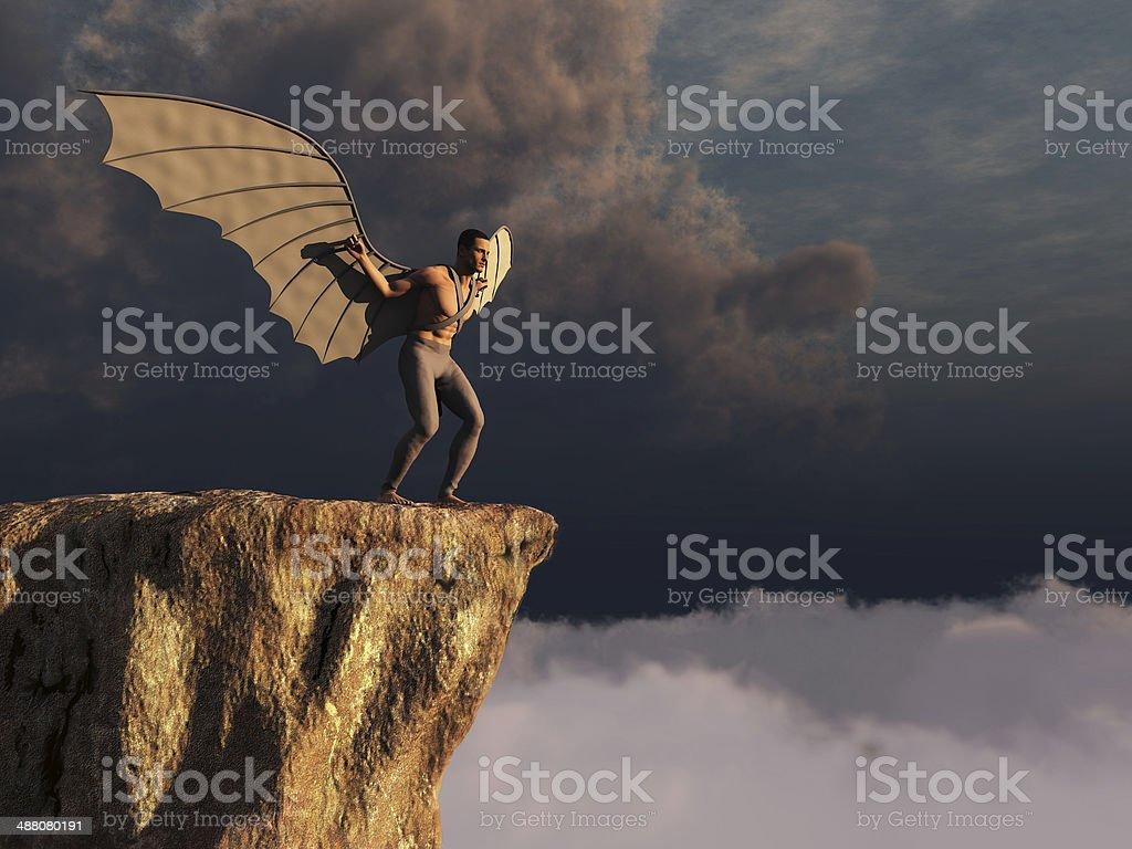 Winged man stock photo