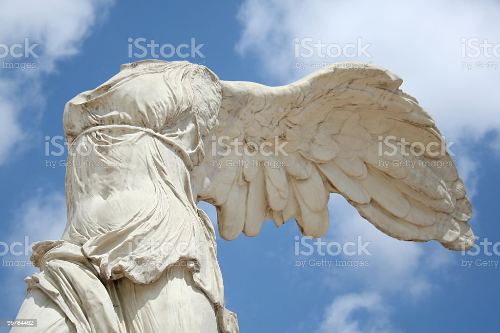 Winged statue stock photo