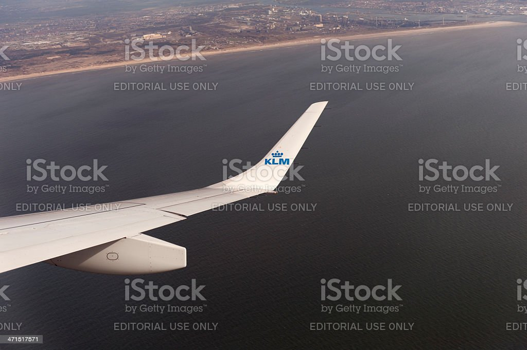 winglet of an KLM embraer airplane in the air stock photo