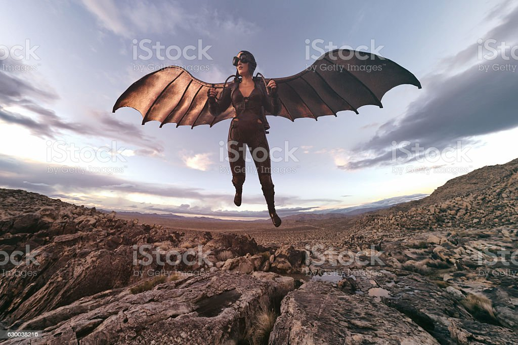 wings of aviator woman stock photo