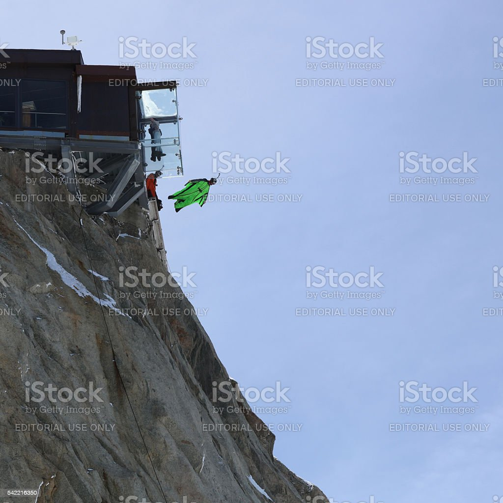 Wingsuit BASE Jumping stock photo