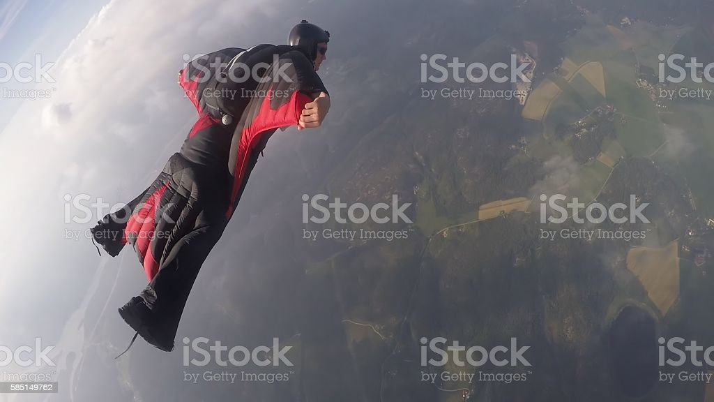 Wingsuit skydiving stock photo