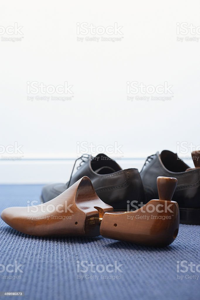 Wingtips with Shoe Tree stock photo