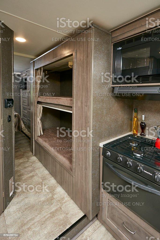 Winnebago Mini Winnie 2017 model kitchen and bunkbeds stock photo