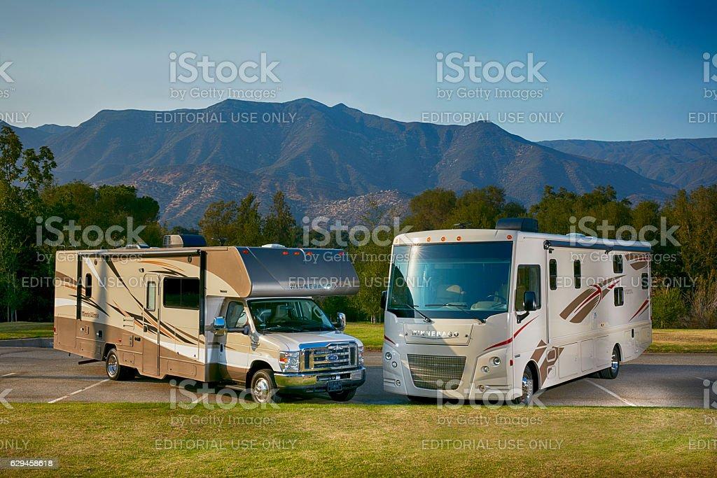 Winnebago Vista and mini winnie 2017 models horizontal stock photo