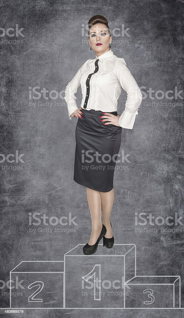 Winner business woman royalty-free stock photo