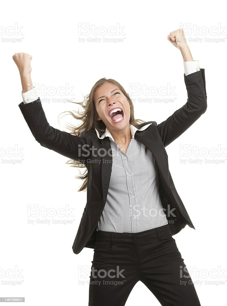 Winner businesswoman with success royalty-free stock photo