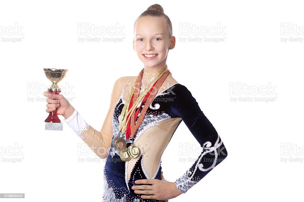 Winner gymnast girl stock photo