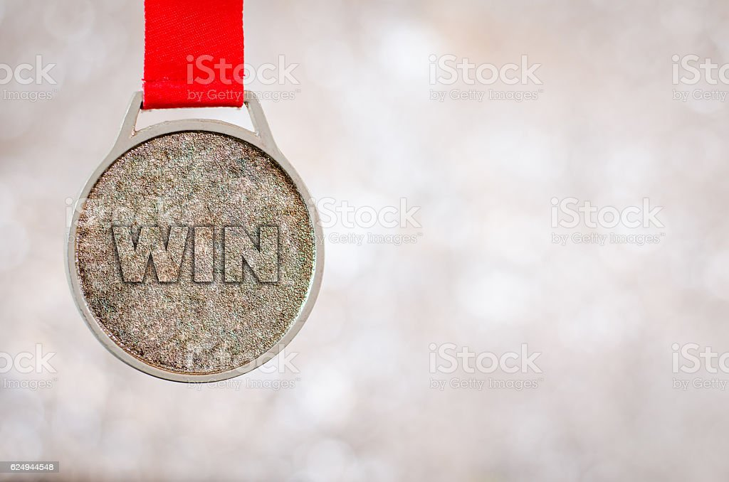 Winner medal on bokeh lights background. Success win concept. stock photo