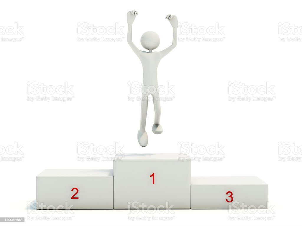 Winner on the pedestal royalty-free stock photo