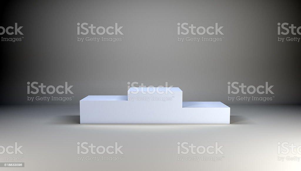 Winner podium on grey stock photo