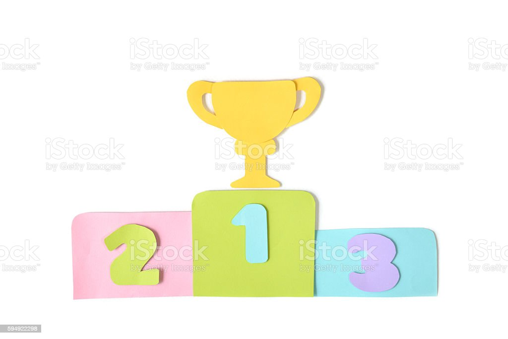 Winner podium with trophy on white background - isolated stock photo